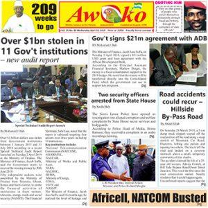 Awoko Newspaper Print Edition